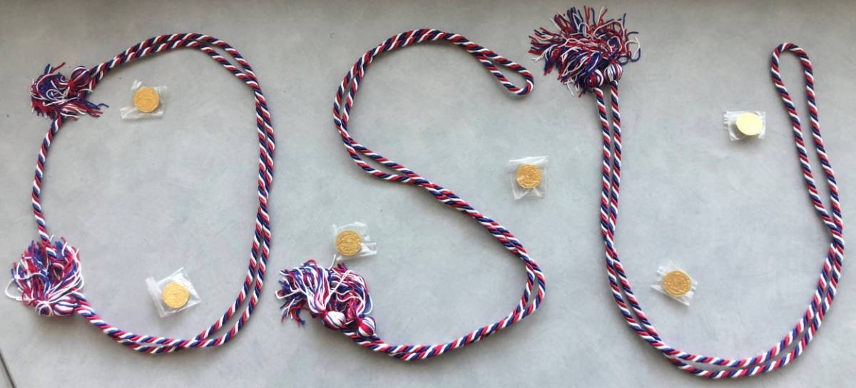 Red, White, and Blue Graduation Cords Spelling Out OSU